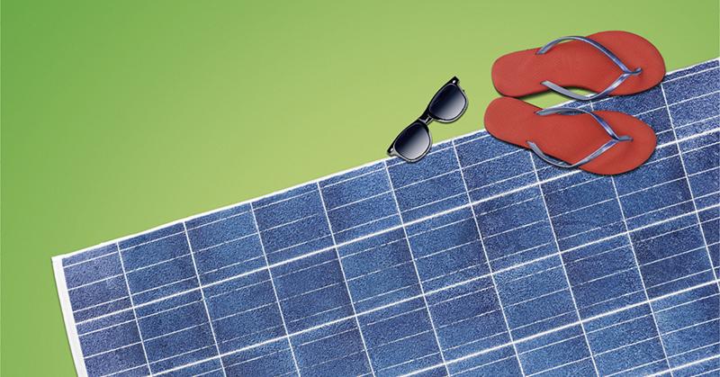 panneaux solaires avec des tongs et des lunettes de soleil 3adb9ffc1de4