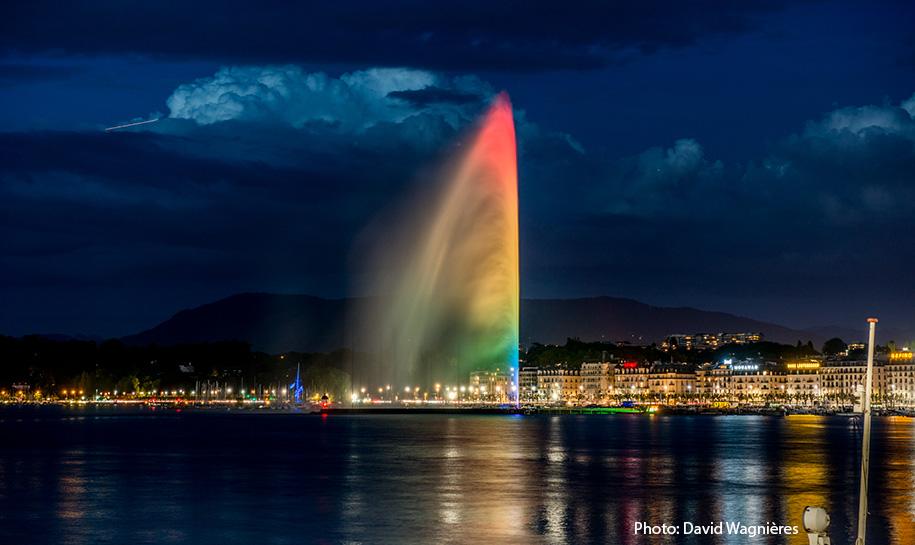 jet d'eau couleur Arc en ciel - Photo: David Wagnières